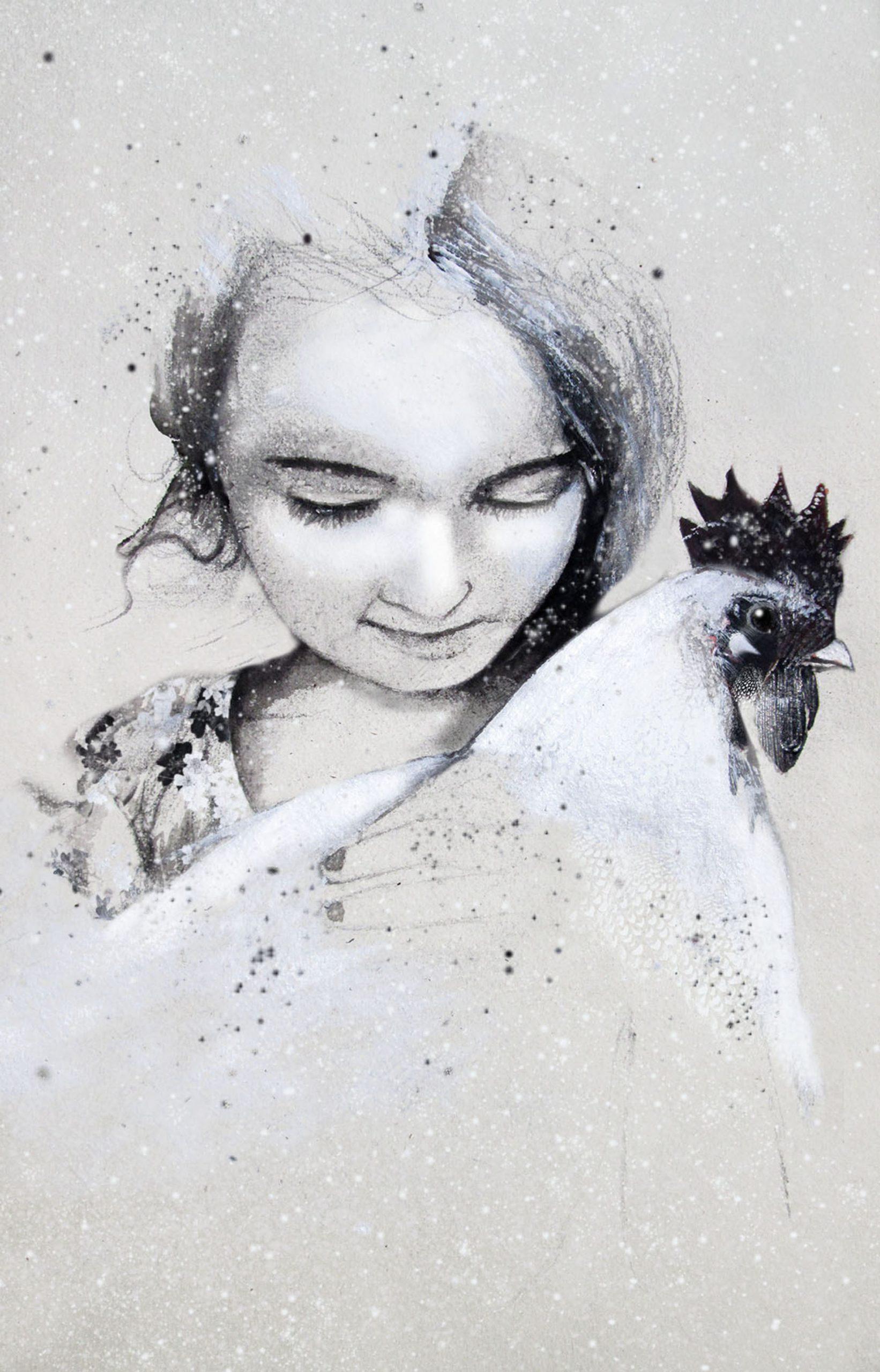 Nora. La gallina. Una de moltes en un galliner, on el gall sí canta. Anònima fins que es rebel·la. Per supervivència. I vola. I pon un ou. Es confia. Temps de pau. A contrarellotge. Tic tac, tic tac. El sistema s'imposa. Al caldo. Noves gallines s'alçaran com flocs de neu. Fins a colgar la sang. Nou paisatge. Blanc, pur. Innocència.